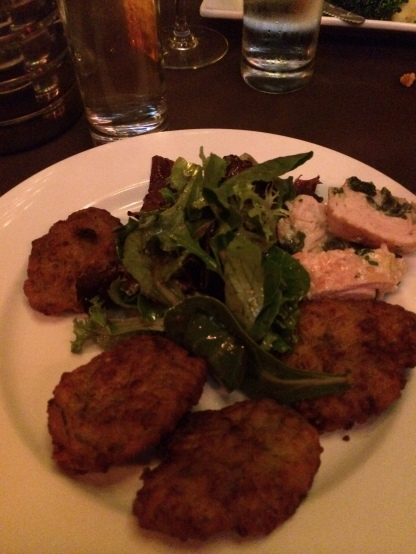I had croquettes, salad, hummus, fresh pita and some of Sarah's Santorini chicken.