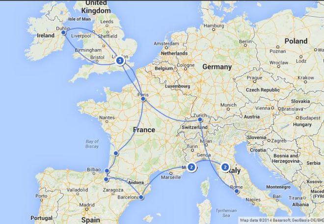Euro Trip 2014 Map