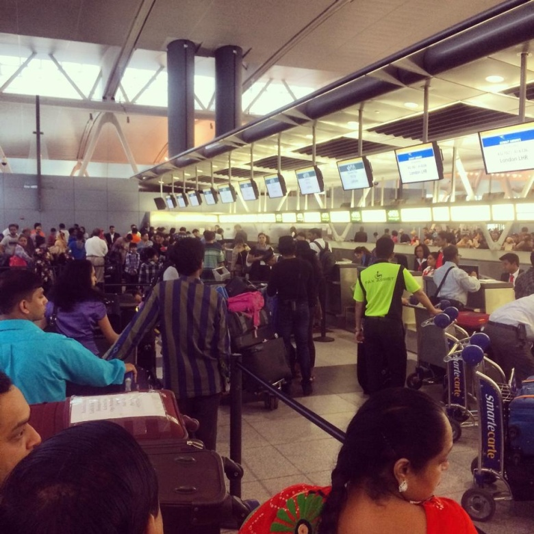 The line at customs was frightening.
